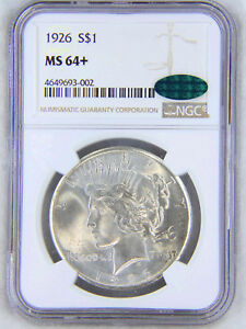 1926 Peace Dollar NGC MS64+ CAC Blast White with Spectacular Luster, PQ #63W