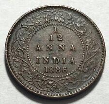 BRITISH INDIA - Queen Victoria - 1/12 Anna - 1886c - KM-483 - Extra Fine