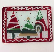 Fitz Floyd Holiday Essentials Merry Jingle Glass Dish Tray Christmas Trees Euc