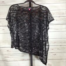 Vince Camuto Womens Shrug Top Sequin Black Semi Sheer Size XS