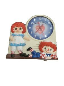 Vintage Raggedy Ann & Andy Clock Janex 1974 Wind Up  Read***