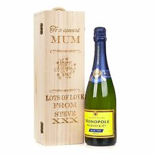 Personalised Engraved Wooden Wine Bottle Gift Box Mother's Day Champagne Wine