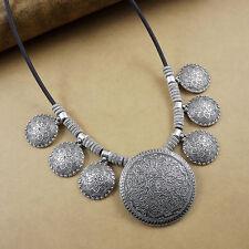 Women's Vintage Round Flower Bohemian Tibetan Silver Pendant Statement Necklace