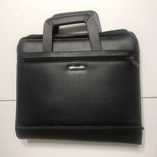 Samsonite Black Leather Expandable Briefcase Laptop Bag Portfolio 14x12