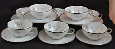 Eschenbach Baronet China Silver Arbor Mid Century Modern Set 8 Cups and Saucers