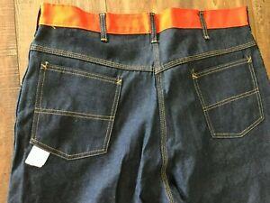VTG 60's Denim Orange Workwear Jeans Pants SCOVILL Zipper~size 40X34 USA NOS