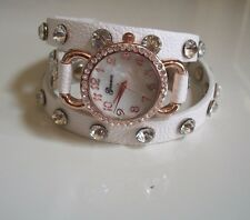 White/Rose Gold Wrap Around Watch with Bling Sparkly Rhinestones Crystals
