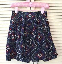 R89 Womens Skirt Xs Blue Purple Orange Flare Faux Wrap Cute Casual Stretch