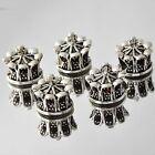 5pcs jacinth crystal Silver Crown Bead European Charm Loose bracelet
