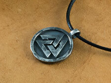 Silver Viking Valknut Norse Valhalla Pagan Round Pendant Necklace Brass Jewelry