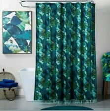 Opalhouse Jungle Print Shower Curtain ~ Green Blue Fringe Trim floral NEW