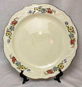 """Adam Antique Steubenville 14"""" Gilded Edge Porcelain FLORAL Serving Plate EVC"""