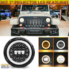 "Black Round 7"" LED Headlight Hi Lo Beam with Halo DRL for Jeep Wrangler Cherokee"