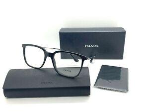 Prada Men's Eyeglasses PR17TV 1AB 101 BLACK Frame 55-18-140MM ITALY NIB