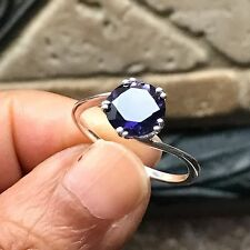 Natural 2ct Iolite Water Sapphire 925 Solid Sterling Silver Solitaire Ring 5.75