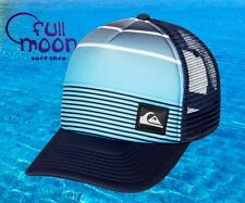 New Quiksilver Striped Brilliant Blue Trucker Mens Snapback Cap Hat