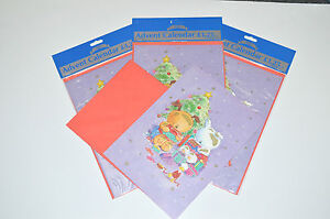 4 Advent Calendars Each With Red Envelope.  RRP £1.25 Each!   4 for only £2.50!