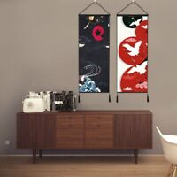 Lucky Cat Printed Tapestry Wall Hanging Banner Japanese Noren Doorway Arts Decor