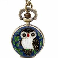 Vintage Brozne Alloy Enamel Night Owl Quartz Pocket Watch Pendant Chain Necklace