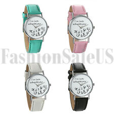 Women Whatever,I am late Funny Leather Band Quartz Nice Wristwatch Watch Gift
