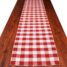 Tischläufer Landhaus-Tischdecke Karo mit Edelweiß rot-weiß-kariert 40 x 160 cm