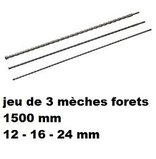 JEU 3 FORET MECHE BETON 1.5 M SDS + PLUS DIAM Diam 12 /16 / 24 MM Long 1500 mm