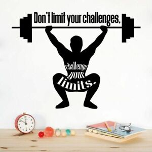 Don't Limit Workout Motivation Quotes Vinyl Art Sticker Home Gym Wall Decals