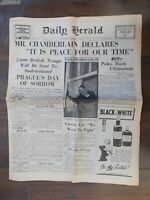 VINTAGE NEWSPAPER DAILY HERALD OCTOBER 1st 1938 CHAMBERLAIN SAYS PEACE ASSURED