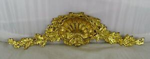 "15.75"" Antique French Gilded Bronze Furniture Pediment Decoration Louis XV St"