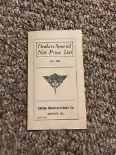 Vintage Dealer Special Net Price List Empire Manufacturing Co. April 15, 1923