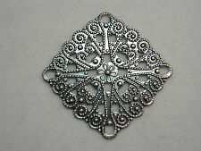 Antiqued Silver Victorian Filigree Earring Pendant Finding