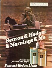 1981 Benson & Hedges Cigarettes Man Fishing Dog Boat Vintage Photo Print Ad