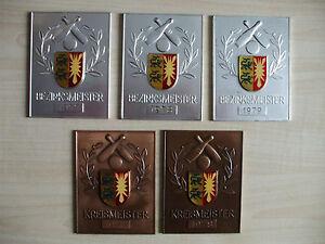 5 Sieger Plaketten Kegeln 3 x Bezirksmeister 2 x Kreismeister