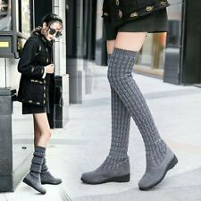 Women Cable Knit Extra Long Socks Boots Over Knee Thigh High Girls Knight Boots
