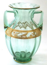Wheeling Decorating Co Green Glass Vase Pheasant & Stump Encrusted Gilt Design