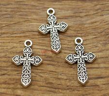 15 Cross Religious Charms Faith Church Charms 2 Sided Antique Silver 17x28 2392