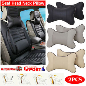 2PCS Car Seat Head Neck Rest Support Cushion Pad HeadRest Bone Safety Pillow AU