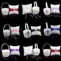 Wedding Flower Girl Basket & Ring Pillow Set Ring Bearer Cushion Pillow Basket