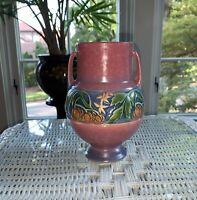 """Vintage Original Roseville Pottery Baneda 589-6"""". Vase w/ Handles. Excellent!"""