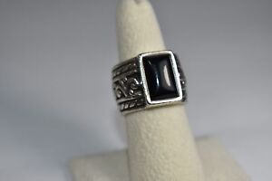 SILPADA R1096 Black Onyx Filigree Scroll Sterling Silver Wide Band Ring Size 7.5