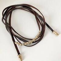 Modernist Brutalist Brown Leather Wrap Choker Necklace EUC