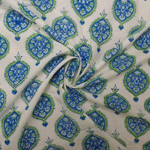 Indian Hand Block Print White Blue Motif 100% Cotton Women Dress Craft Fabric