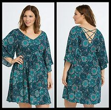 NWT Torrid Size 00 Medium Large Geo Print Lattice Back Dress (#8-9)