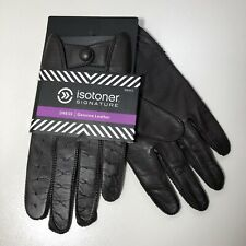 Sz: XL Isotoner Mens Leather Gloves Perforated Fingers Knuckles Snap Closure NWT