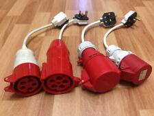 4 x IP44 Red Cable Mount Industrial Power Sockets 32A/16A 5/4 Pin 415V