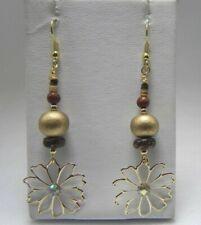"Gold Brown Maroon Wood Beads Flower Bohemian Gt. 3"" Drop Hook Earrings Usa Selle"