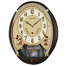 SEIKO CLOCK Wall Clock 6 Songs Mickey Mouse Minnie Mouse Brown Fast Shipping