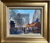 GENA PECHAUBES (1923-?) HST VUE DE L'ARC DE TRIOMPHE // CHAMPS-ELYSEES PARIS