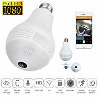 1080P HD Smart WiFi 360° Panoramic Fisheye Hidden Bulb Light Spy Camera Lamp E27