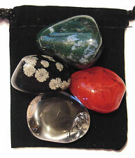 YEAST / CANDIDA REGULATOR Tumbled Crystal Healing Set = 4 Stones + Pouch + Card